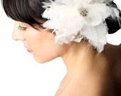 Silk Organza and Feather Flower Bridal Hair Clip- Hair Accessory