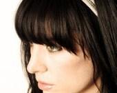 Silver Chevron Hand Beaded Double Banded Headband- Hair Accessory