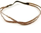 Smoky Brown Bugle Bead Double Banded Headband- Hair Accessory