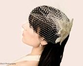 White Hand Beaded Birdcage Veil- Bridal Hair Accessory