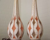 Pair of large, retro lamps with great mid century detailing