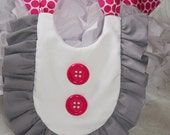 MOD Ruffle Baby Bib  - Gray / GREY / Hot PINK  Retro Bib, Baby Shower Gift, Photo Prop