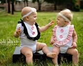 Baby Bibs Kids Clothing - TWO Girl Ruffle Bibs, TWINS -CUSTOM Colors, Ruffled, Ruffles Ribbon