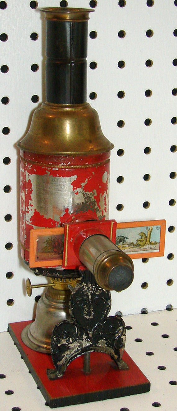 1890s Magic Lantern Projector, Red Toy, 1 inch aperture