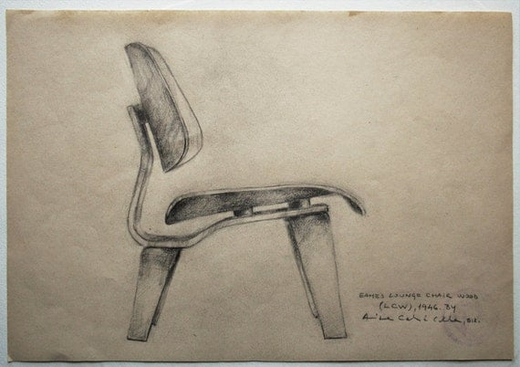 Original Drawing, Eames love (LCW), 2012.