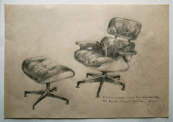 Original Drawing, Eames love (Lounge Chair and Ottoman), 2012.