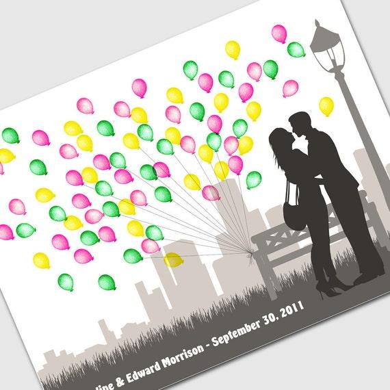 Wedding guest book tree alternative City Shadow Art