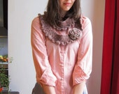 Pink and blue cowl with flower