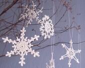 Crochet Snowflake 6 Lacy Silver Snowflake  Christmas ornaments