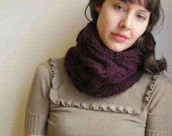 Hand knitting neckwarmer Dark purple