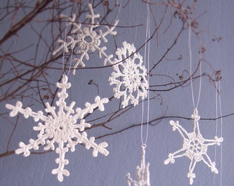 Crochet Snowflakes  6 Lacy Silver Snowflakes  Christmas ornaments/Home decor