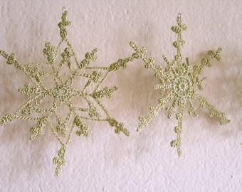 Crochet Christmas snowflakes ,Golden snowflakes,Crochet Christmas Decoration -6 Lacy snowflakes