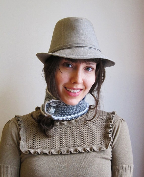 Grey Knit Neckwarmer. Hand knitted neckwarmer