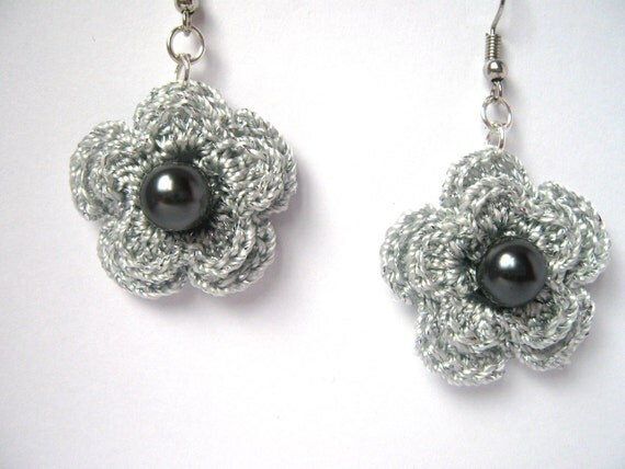 Silver Grey Crochet Earrings with a glass pearls