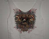 Upcycled recycled Tshirt bag Medium printed white 2008 Sturgis Black Hills Motorcycle Rally
