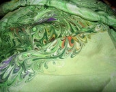 RESERVED FOR COLORBAZAAR 1952 Japan Gorgeous Sheer Scarf, Suminagashi Swirled Marbled Border, Center, greens & color accents