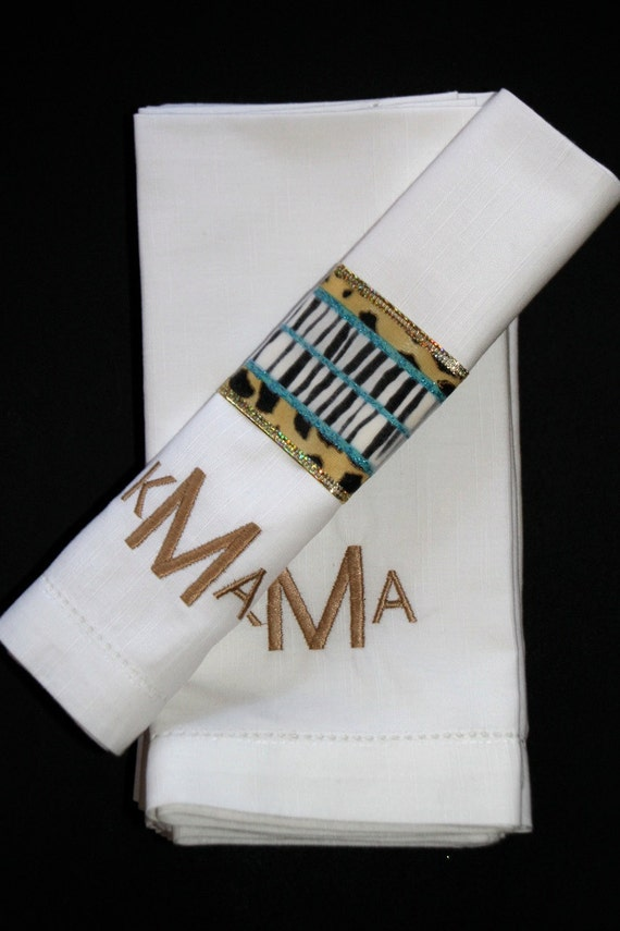 Monogrammed embroidered napkins modern by whitetulipembroidery