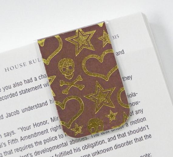 Magnetic Bookmark, Laminated, Skull and Crossbones, Brown Bookmark, Metallic Gold