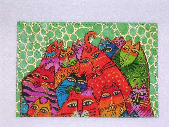 SALE  Laurel Burch Style Quilted Postcard  CATS