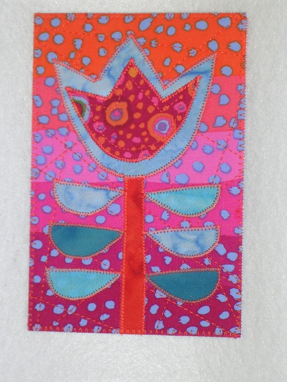 Flower   Applique Quilted Fabric Postcard  Whimsical Flower