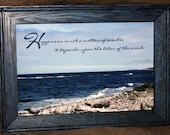 Newfoundland Shores with Inspirational Quote in an 8 X 12 Red Oak Blue Dye Frame