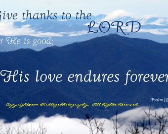 """4x5.5"""" Any Occasion Cards -Pretty Blue Mountains and Clouds with Bible Verse"""