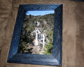 Whitewater Falls - North Carolina Water Falls in 8 X 12 Red Oak Blue Dye Frame