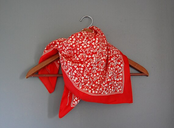 RESERVED Furoshiki Red Scarf Vintage Valentine White Heart And Vine Motif Scarves