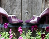 Vintage 1940's 1950s Art Deco Eggplant Purple Scalloped Edge Pumps Heels Shoes 4.5