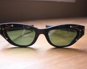 1950's Vintage Black Rockabilly Cat Eye Eyeglasses Sunglasses With Rhinestones