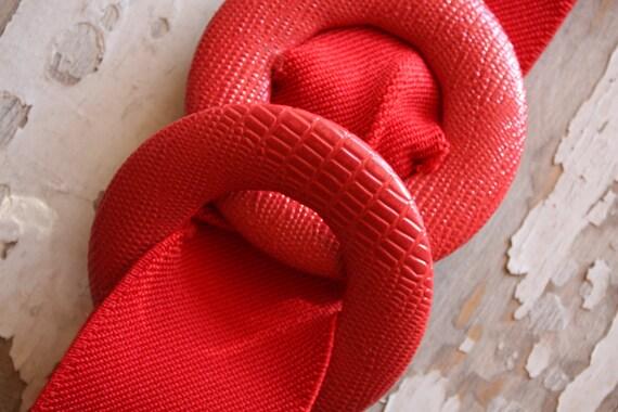Vintage 1980's Cherry Red Elastic Waist Belt S/M