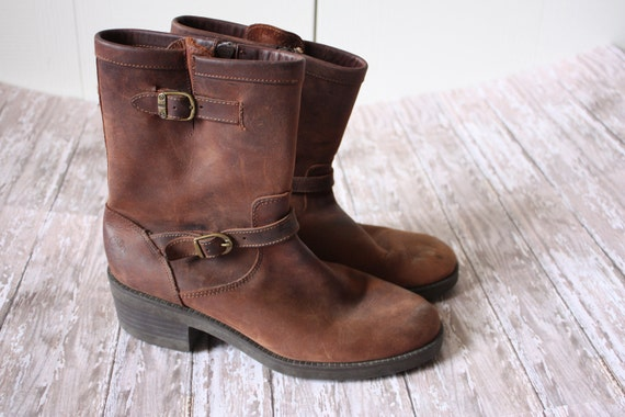 Women's Rustic Brown Leather Boots by Maine Woods Size 9