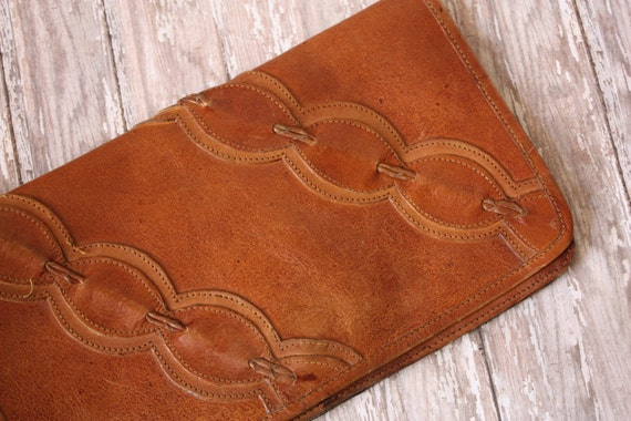 Vintage Boho Stitched Leather Wrist Clutch Made in India