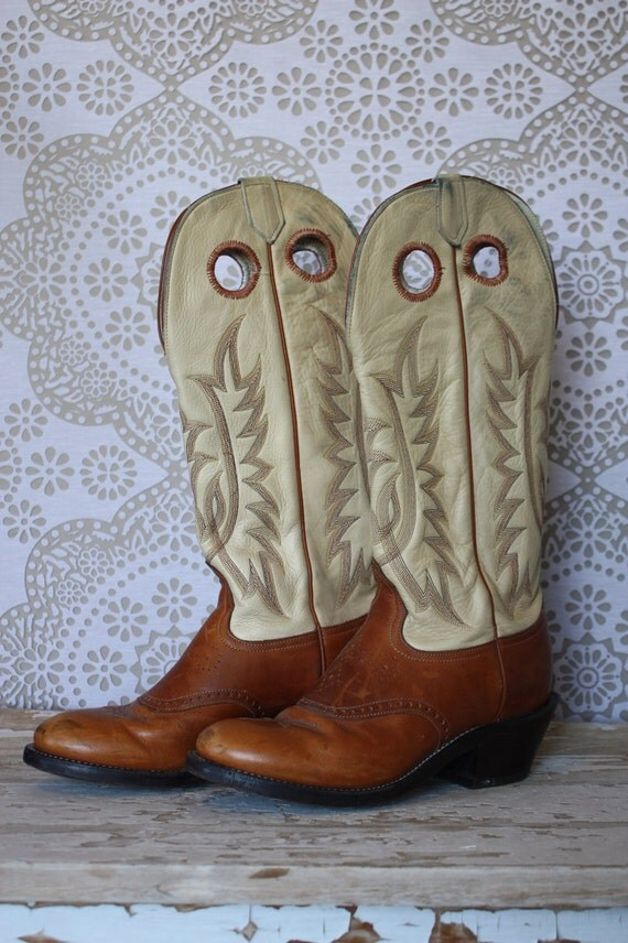 Women's 1970's Tony Lama Two Tone Leather Western Cowboy Boots 7.5 M