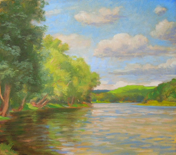 River In Summer, River With Landscape, Realistic River Painting, River Scene Done In Oils