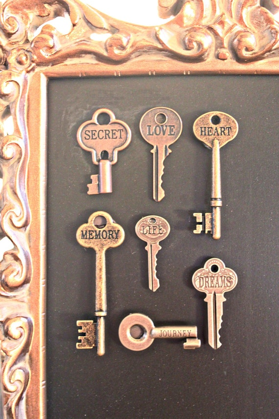 Set of 5 extra SKELETON KEY magnet Love Hope Dream Heart Memory Stamped Metal Seating Chart Wedding Reception