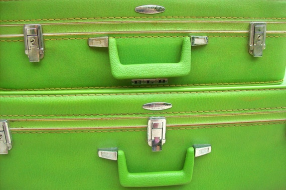RESERVED for Christi-RARE Vintage Lime Green Suitcases- Set of 2 Sears Featherlite Luggage- Vintage Luggage- Vintage Suitcase