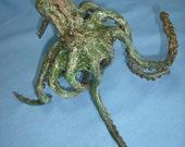 Walking octopus bronze sculpture