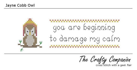Jayne Cobb Owl - Firefly Inspired PDF Cross Stitch Pattern - INSTANT DOWNLOAD