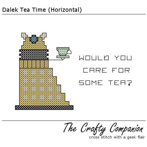 Dalek Tea Time - Doctor Who Inspired PDF Cross Stitch Pattern - INSTANT DOWNLOAD