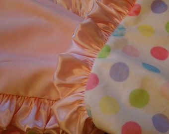 Minky Blanket with Satin Ruffle - Multi Polka Dot