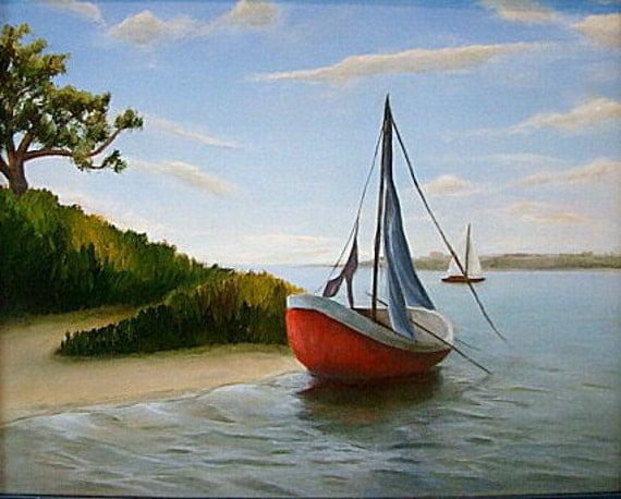 Sailboat Original Oil Painting Seascape