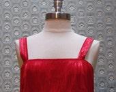 Vintage Red Fringe Flapper Dress C-00218