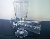 Vintage Beer Glasses Tall with diagonal ribbed design Set of 2 E 00283
