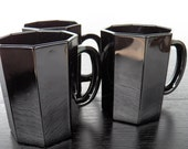 French Black Coffee Cups Mod Faceted Design Set of 3 E00288
