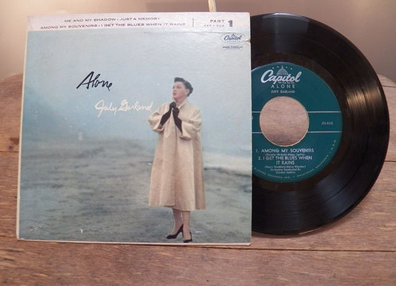 Vintage Small Vinyl Record Alone by Judy Garland by Capitol A-00125