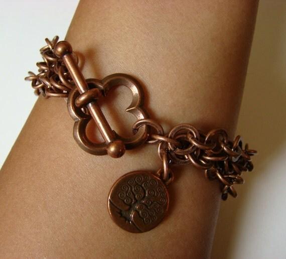 Tree of Life Bracelet with Quatrefoil Toggle Clasp - Antique Copper