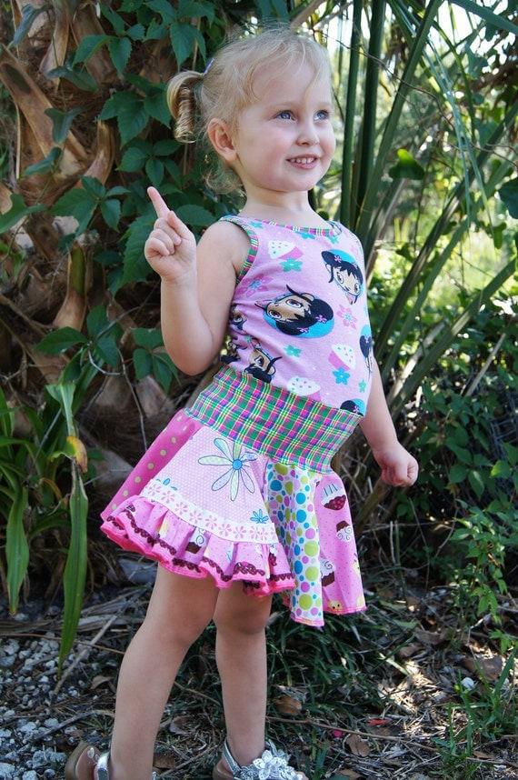 Size 12/18 mo - 2T/3T Upcycled Kai Lan Cupcake Dress