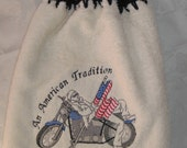 Towel - Motorcycle American Flag Embroidered crochet topped hand towel (Free USA Shipping)
