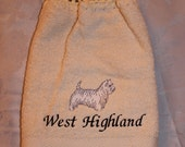 Hanging Towel - West Highland dog - Embroidered crochet topped hand towel (Free USA Shipping)